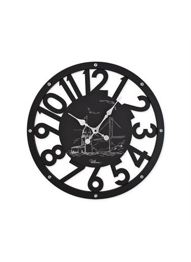Ultima Regal Ultima Regal Ahşap İskelet Modern Tasarım Duvar Saati Siyah Renkli